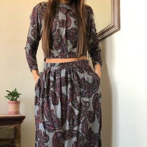 Vintage 70s two piece Paisley blouse and skirt set